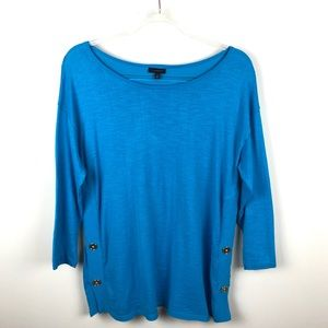 Talbots Bright Blue Cotton Lightweight Sweater M
